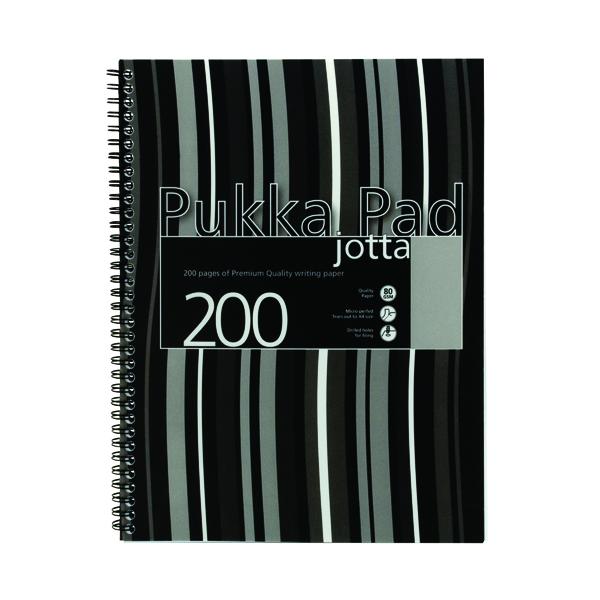 Pukka Pad Stripes Polypropylene Wirebound Jotta Notebook 200 Pages A4 Black (Pack of 3) JP018