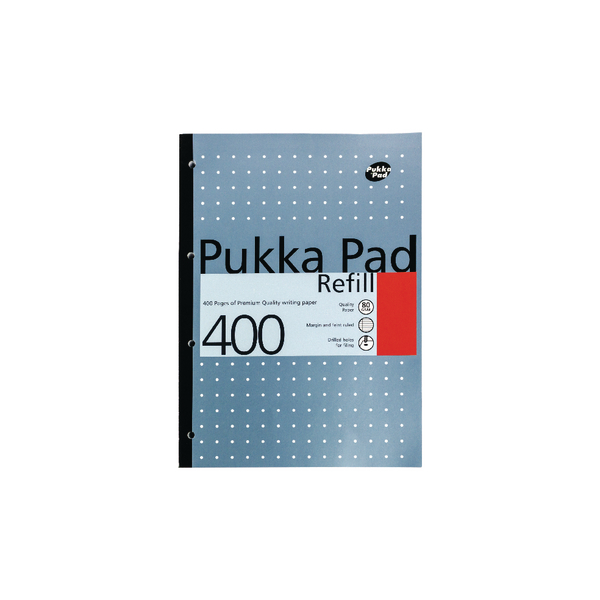 Pukka Pad Ruled Metallic Four-Hole Refill Pad Side Bound 400 Pages A4 (Pack of 5) REF400