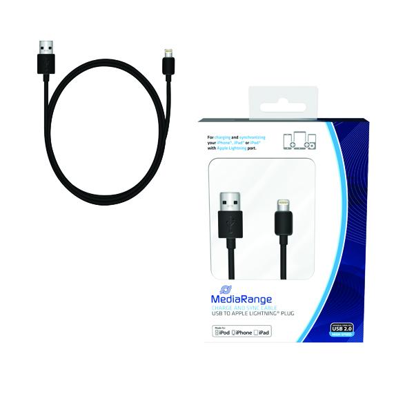 Reviva 3A Twin USB In Car Chrgr + MediaRange Chrg Sync Cbl USB 2.0 to Apple Lightng Bundle REV12502
