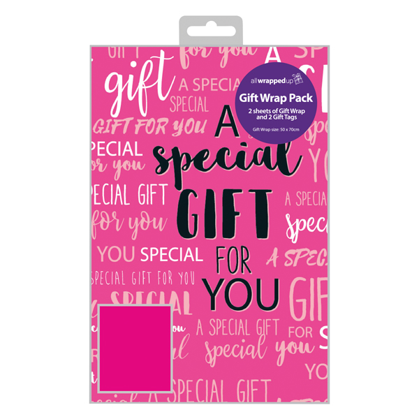 Regent Special Gift Text Gift Wrap and Tag (Pack of 12) F349