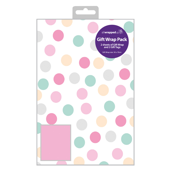 Regent Polka Dot Gift Wrap and Tag Pink (Pack of 12) F607