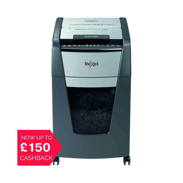 Rexel Auto+ 300X Cross Cut Shredder Black (Shreds up to 300 sheets of 80gsm paper) 2103250