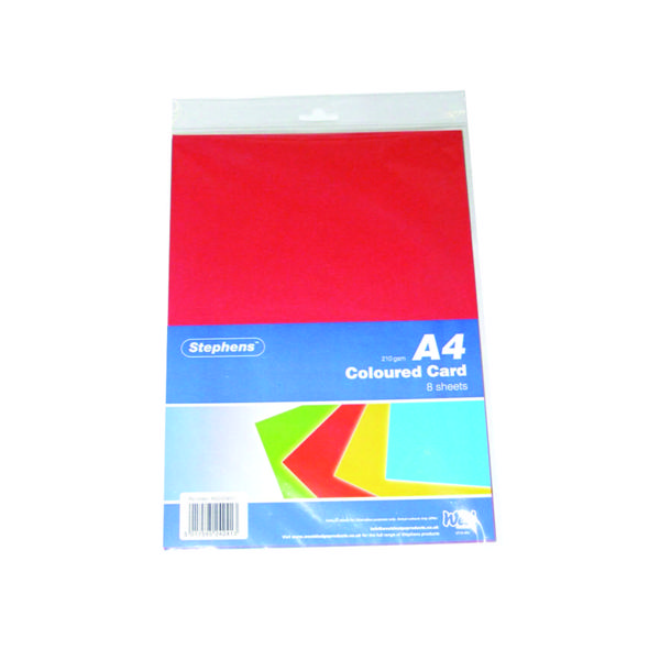 Stephens Assorted Coloured Card (Pack of 80) RS242451