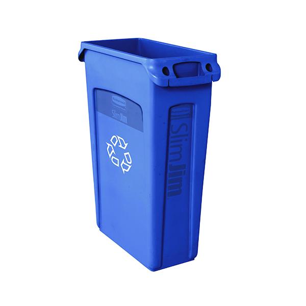 Rubbermaid Slim Jim Venting Channel Container 87 Litre Blue 3540-07-BLU