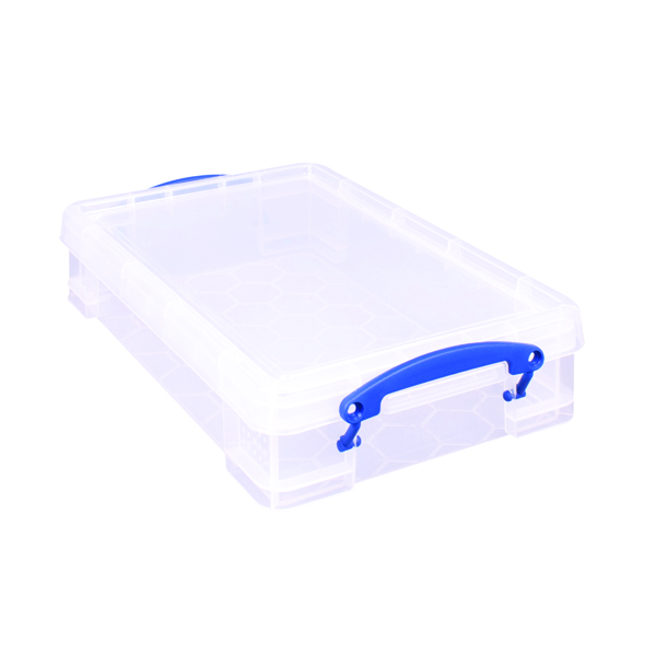 Really Useful 4 litre Plastic Storage Box With lid 395x255x80mm Clear KING4C