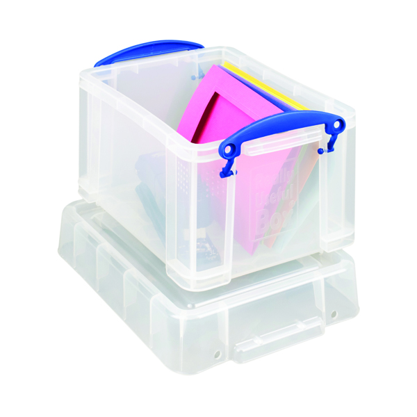 Really Useful 3L Plastic Storage Box With Lid 245x180x160mm Clear 3C