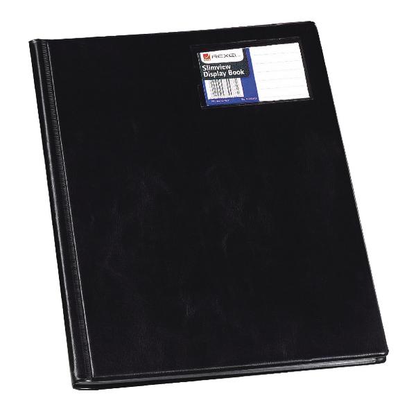 Rexel Nyrex Slimview A4 Display Book 12 Pocket Black 10005BK