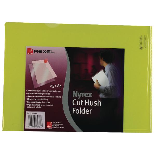 Rexel Nyrex Cut Flush Folder A4 Yellow (Pack of 25) 12161YE