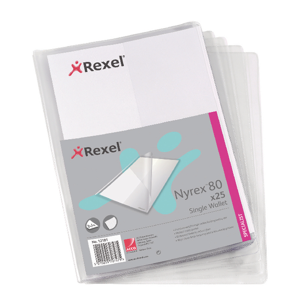 Rexel Nyrex Single Wallet A4 Clear (Pack of 25) 12181