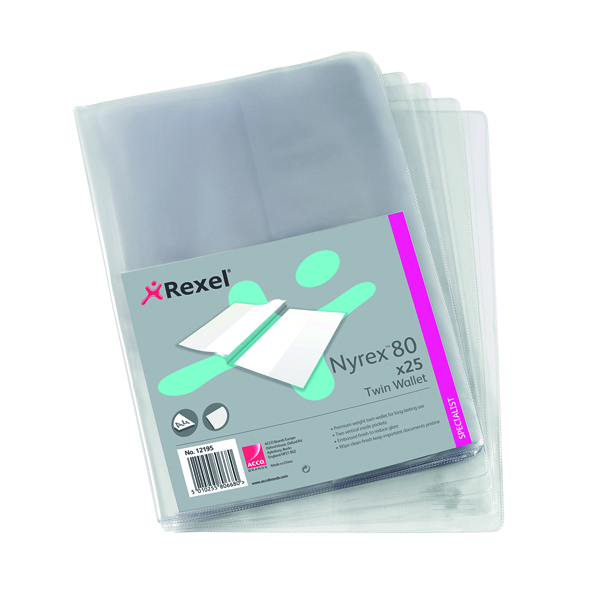 Rexel Nyrex Twin Wallet A4 Clear (Pack of 25) 12195
