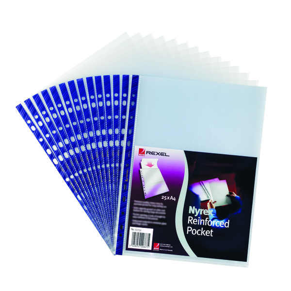 Rexel Nyrex Pocket PVC Open Top A4 Clear (Pack of 25) NPRA4 12233