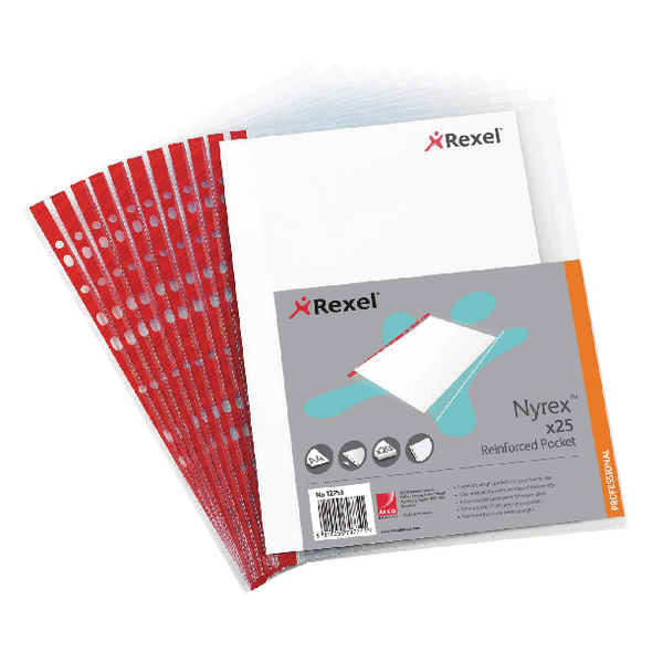 Rexel Nyrex Pocket PVC Open Side Foolscap Clear(Pack of 25)R149L 12263