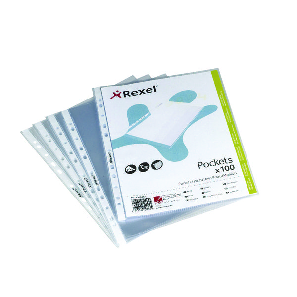 Rexel Premium Punched Pockets Top Opening A5 (Pack of 100) 1300063