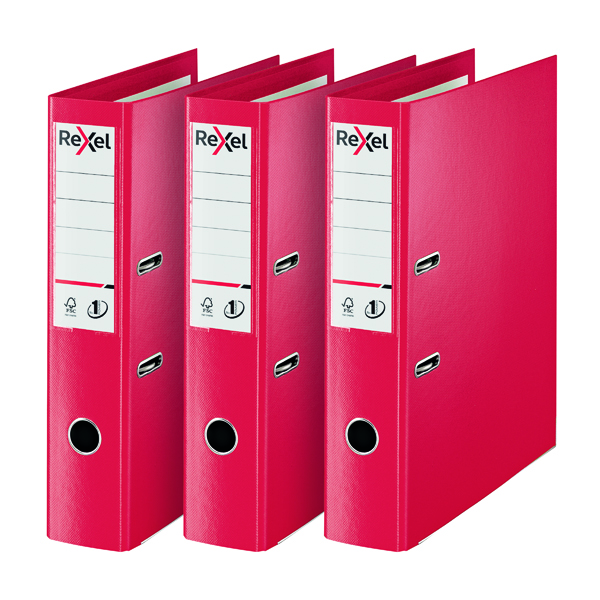 Rexel Choices Lever Arch File Foolscap Polypropylene Red 3 For 2 RX810229