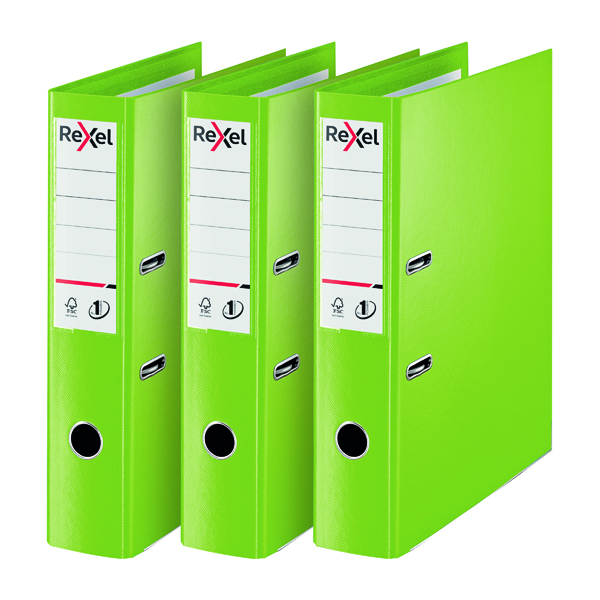 Rexel Choices Lever Arch File Foolscap Polypropylene Green 3 For 2 RX810230