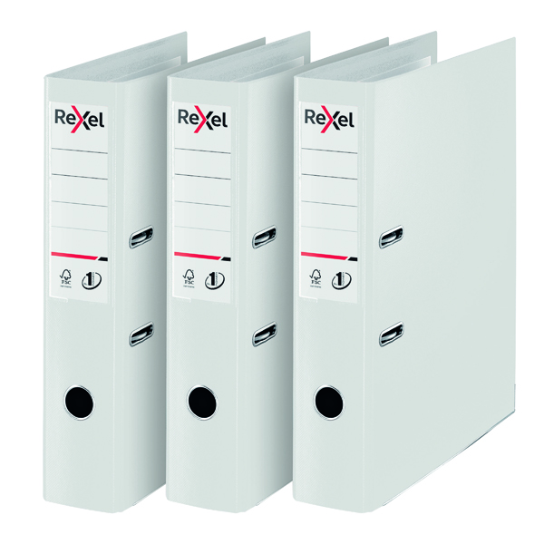 Rexel Choices Lever Arch File Foolscap Polypropylene White 3 For 2 RX810231