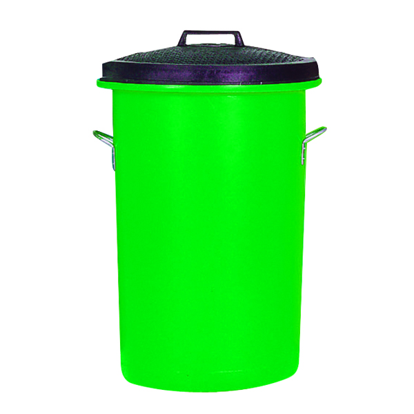 Heavy Duty Coloured Dustbin 85 Litre Green (2 handles on base and 1 on lid for easy handling) 311965