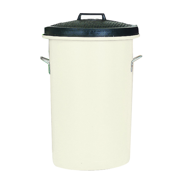 Heavy Duty Coloured Dustbin 85 Litre White (2 handles on base and 1 on lid for easy handling) 311967