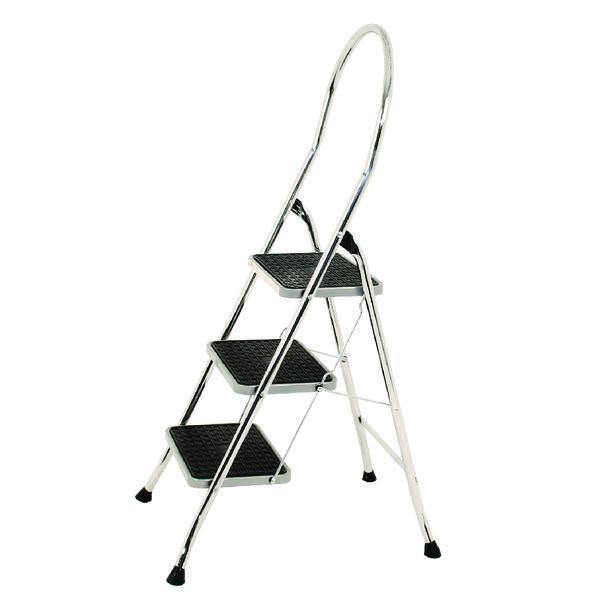 Folding Step Stool 3-Tread High Back Chrome 321679