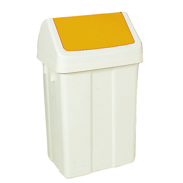 Plastic Swing Top Bin 50 Litre White With Yellow Lid 330353