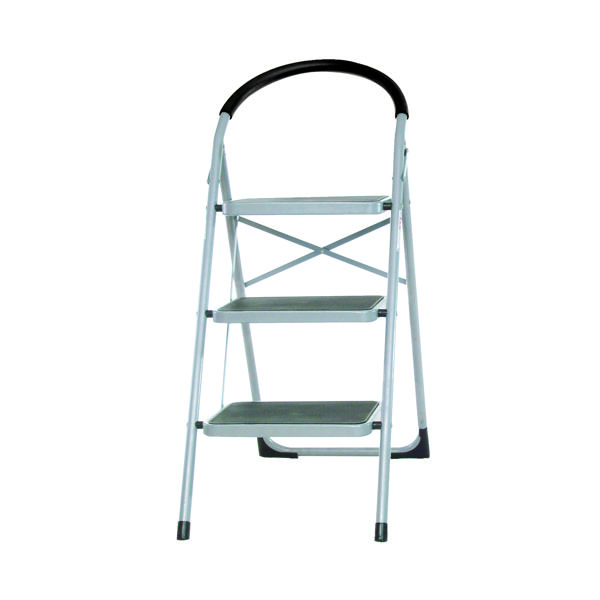 3 Tread White Step Ladder (100kg Capacity, Height to top step: 720mm) 359294
