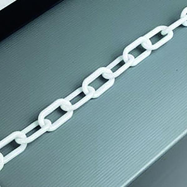 White Plastic 8mm Chain in 25 Metre Lengths - 360077