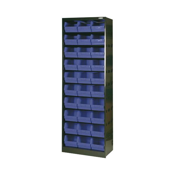Metal Bin Cupboard With 30 Polypropylene Bins Dark Grey Black 371834