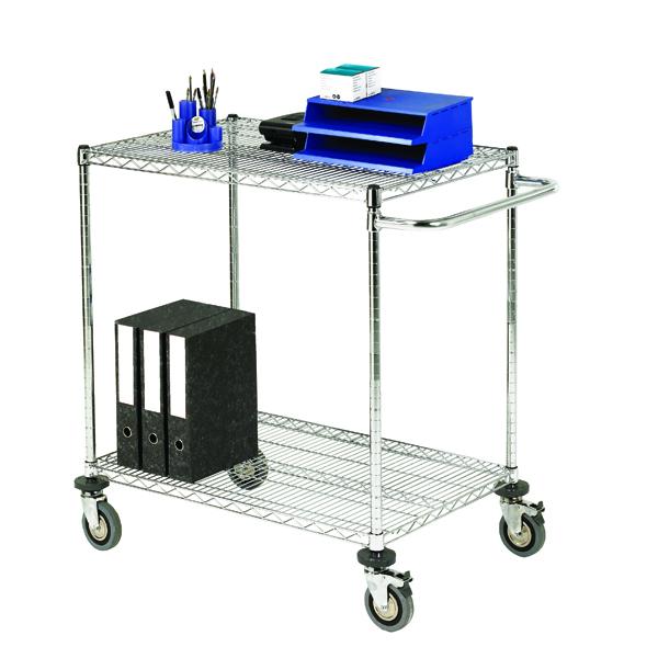 2-Tier 240kg Chrome Mobile Trolley (W457 x D914 x H965mm) 372995