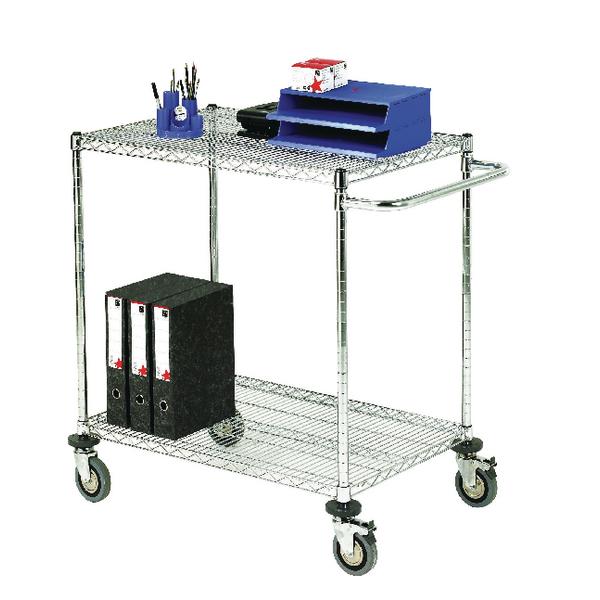 2-Tier 240kg Chrome Mobile Trolley (W457 x D1524 x H965mm) 372999