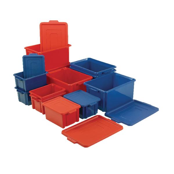 VFM Red Jumbo Plastic Storemaster Crate With Lid 374345