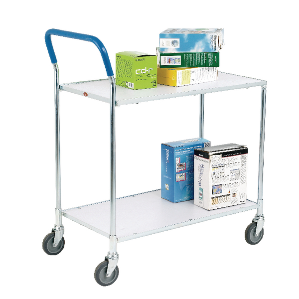 Metallic Grey and White Zinc Plated 2 Tier Service Trolley 375424
