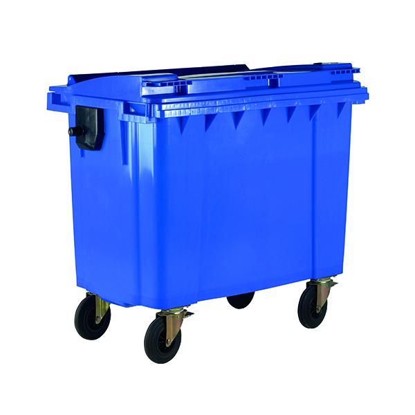 Wheelie Bin With Flat Lid 1100 Litre Blue (Dimensions: H1450 x W1400 x D1200mm) 377394