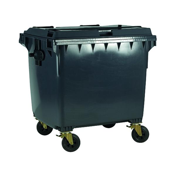 Wheelie Bin With Flat Lid 1100 Litre Grey (Dimensions: H1450 x W1400 x D1200mm) 377396