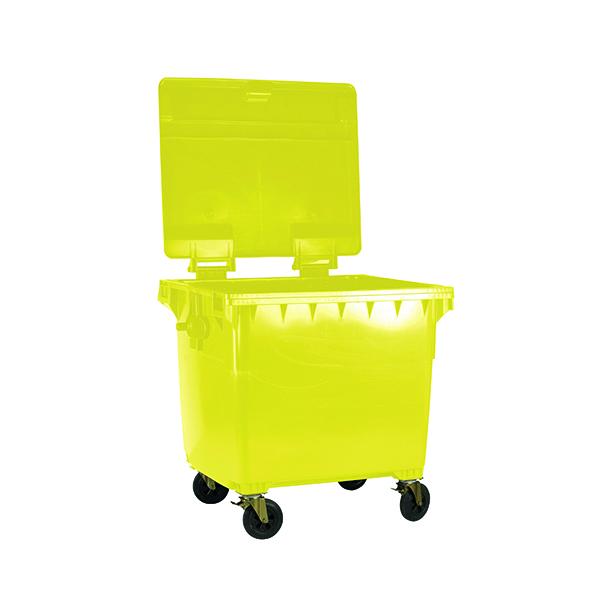 Wheelie Bin With Flat Lid 1100 Litre Yellow 377397