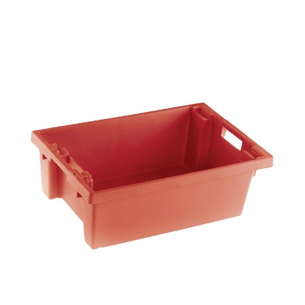 VFM Red Solid Slide Stack/Nesting Container 32 Litre 382958