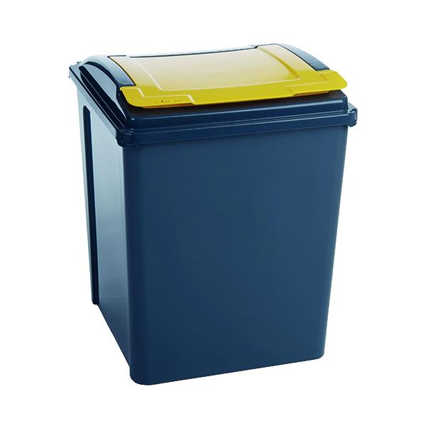 VFM Recycling Bin With Lid 50 Litre Yellow (Dimensions: 390 x 400 x 510mm) 384287