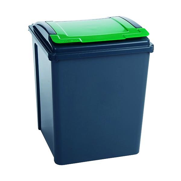 VFM Recycling Bin With Lid 50 Litre Green (Dimensions: W390 x D400 x H510mm) 384288
