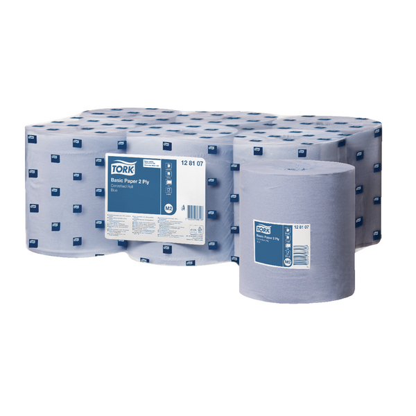 Tork Mini Centrefeed Roll 2-Ply 150m Blue (Pack of 6) 128107