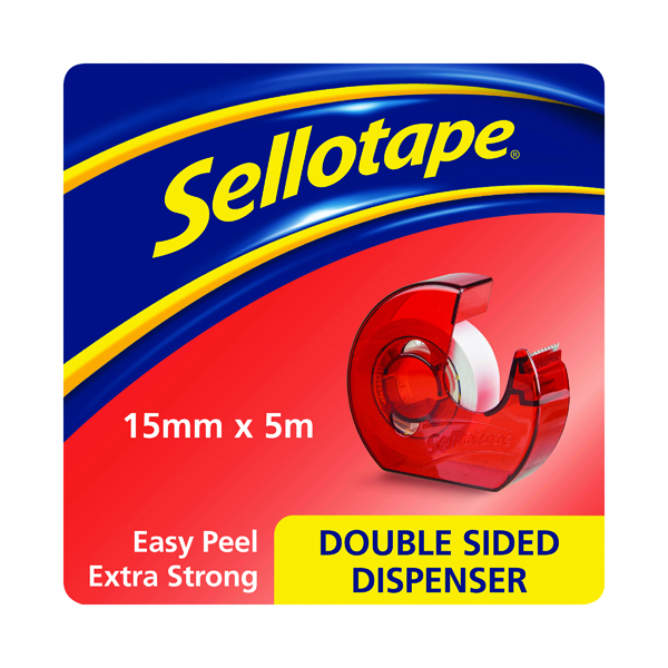Sellotape Double Sided Tape and Dispenser 15mm x 5m 1766008
