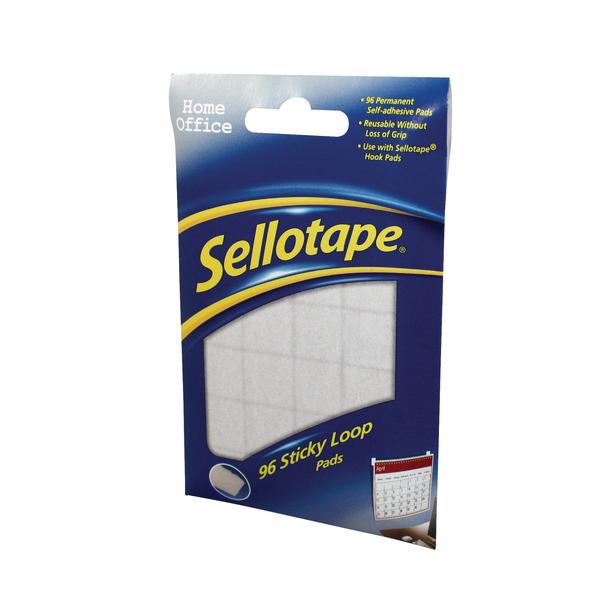 96 x Sellotape Sticky Loop Pads (Permanent, self-adhesive loop pads) 1445184