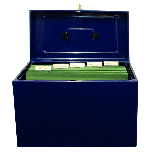 Cathedral Metal File Box Home Office Foolscap Blue HOBL