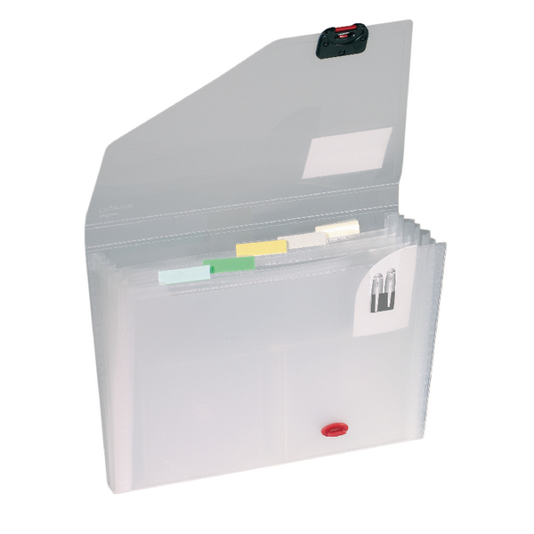 Snopake Expanding Organiser 6 Part A4 Clear (Includes coloured index tabs for personalisation) 11893