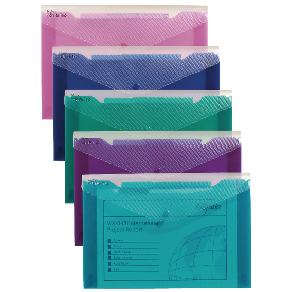 Snopake Polyfile Trio Electra Assorted A4 (Pack of 5) 14967