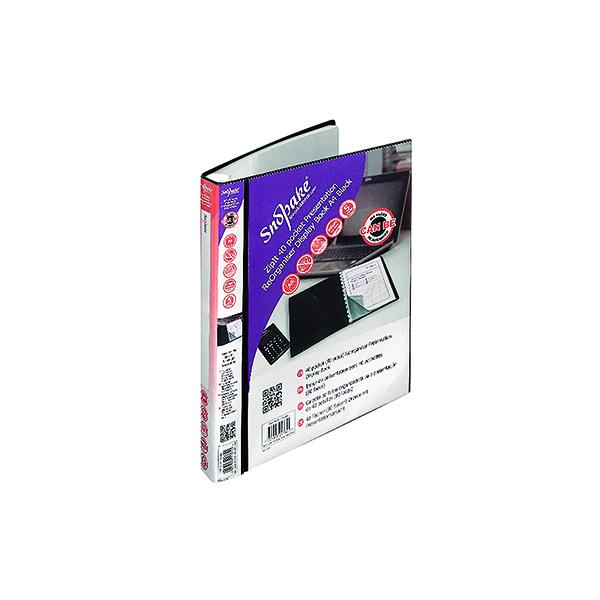 Snopake ZipIt Reorganiser Presentation Book 40 Pocket Black 15780