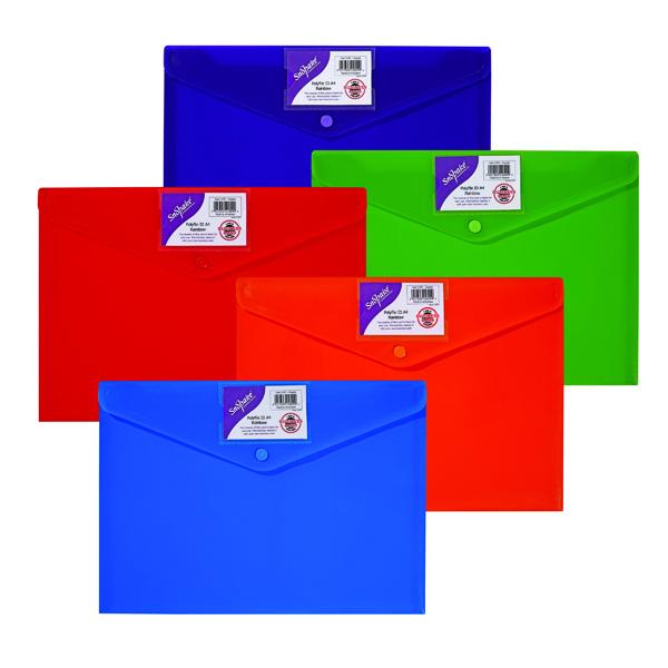 Snopake Polyfile ID Wallet A4 Rainbow (Pack of 5) 15787