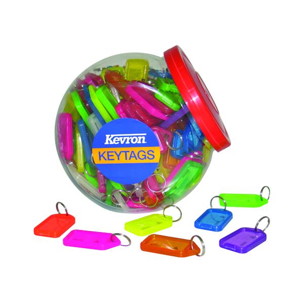 Kevron Plastic Clicktag Key Tag Large Assorted Tub (Pack of 70) ID30AC70