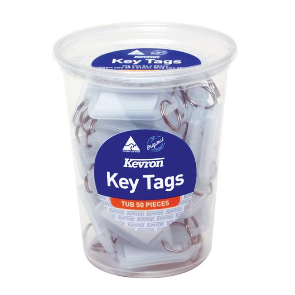 Kevron Standard Key Tags Clear (Pack of 50) ID5TUB50CLR