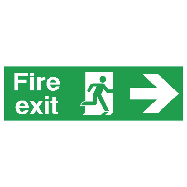 Safety Sign Fire Exit Running Man Arrow Right 150x450mm PVC FX04411R