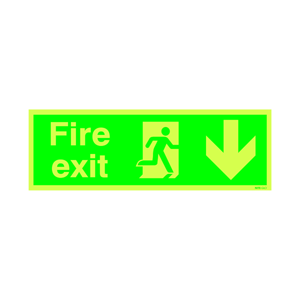 Safety Sign Niteglo Fire Exit Running Man Arrow Down 150x450mm PVC FX04211M