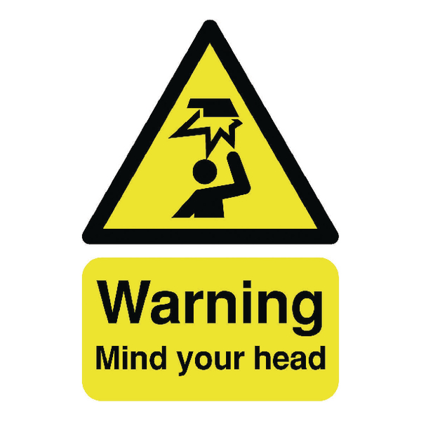 Safety Sign Warning Mind Your Head A5 Self-Adhesive HA25551S
